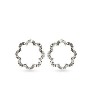 Carolee new Feminine Glam Pave Scalloped Hoops